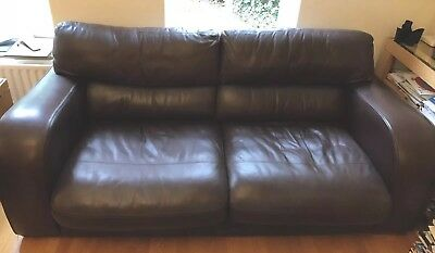 John Lewis Granada Brown Leather Sofas 2 And 3 Seater
