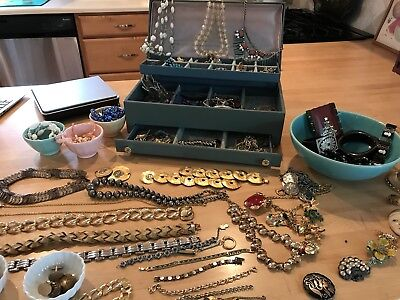 Large Lot of Vintage Costume Jewelry Crafts/ Reselling/ Upcycle Signed 7 ibs +