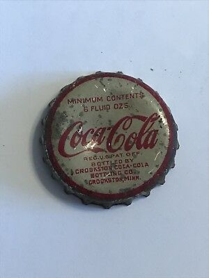 1930's Cork Lined Coca Cola Cap from Crookston Minnesota