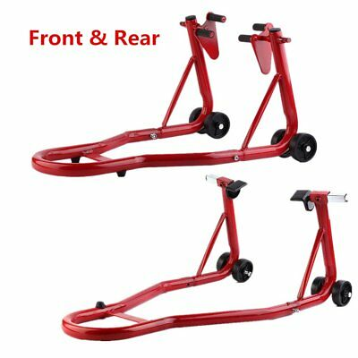 1 Pair Universal Motorcycle Front and Rear Paddock Stand Set Kit Red UK Stock SE