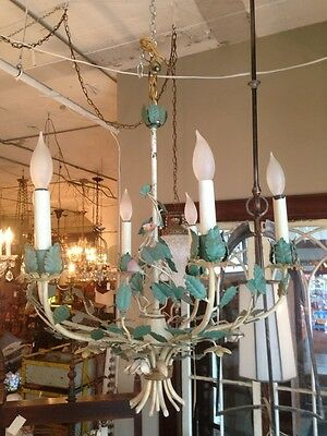 French Mid Century 1950s Painted Toleware Six Light Chandelier Hollywood Regency