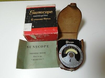 Vintage Sunscope Photoelectric Light Meter with Box, Case, Instructions - Japan
