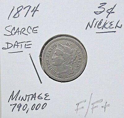 Scarce...1874  3 Cent Nickel***Nicer F/F+  Or Better Details***