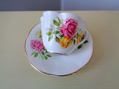 Shelley Large Pink And Yellow Rose Teacup And Saucer