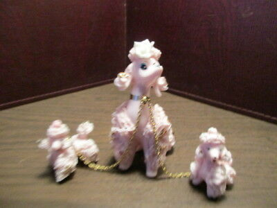 Vintage Ceramic Figurine Mother Pink Poodle & Puppies - Chained - White Rose