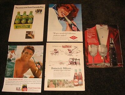 5 Vintage Soda Ads from Life Look Magazines Tab, Royal Crown, Dr. Pepper, Wink