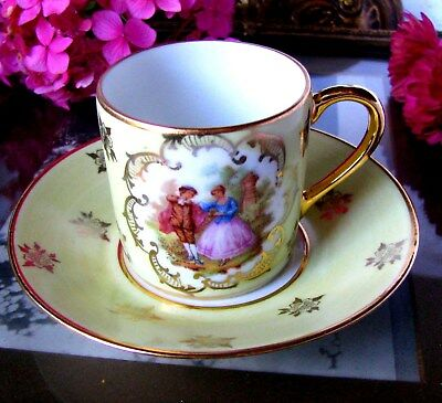 DC Limoges Fragonard Demitasse Cup and Saucer Courting Couple Scene Tea Cup Set