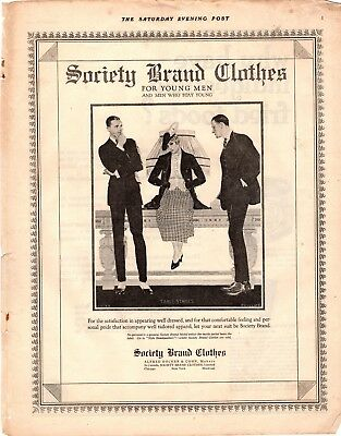 1919 Old Magazine Print Ad Society Brand Clothes Advertisement A102