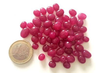 Lot 59 Natural Ruby Hand Carved Beads - Handmade