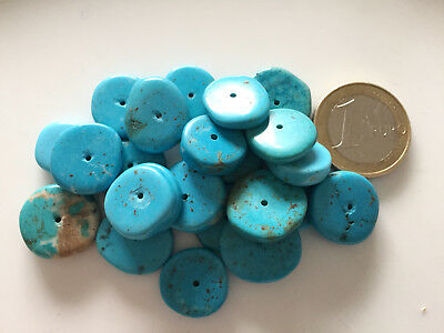 Lot 24 Old Natural Turquoise Disc Beads - Handmade