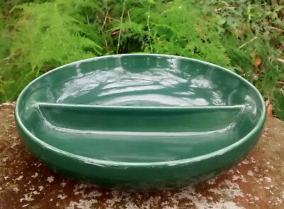 """Russel Wright Iroquois """"Casual"""" Divided Ceramic Vegetable Bowl Dk Grn 10""""D"""