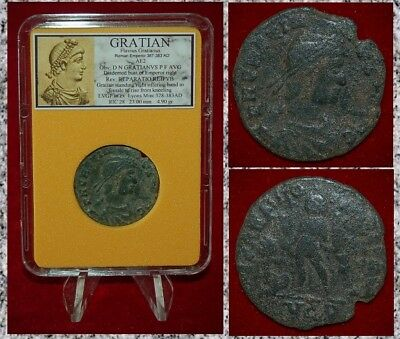 Ancient Roman Empire Coin Of GRATIAN Emperor Gratian Holding Victory