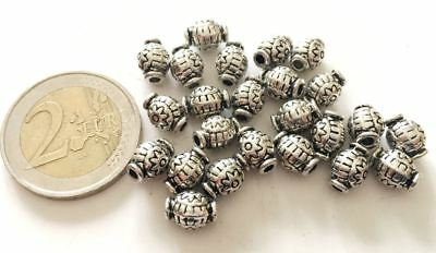 Lot 24 Decorated Tibetan Metal Beads - Handmade