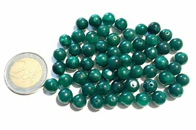 Lot 60 Natural Emerald Hand Carved Round Beads - Handmade
