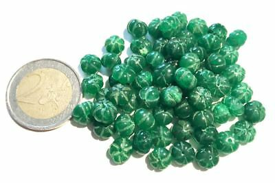 Lot 65 Natural Emerald Hand Carved Melon Beads - Handmade