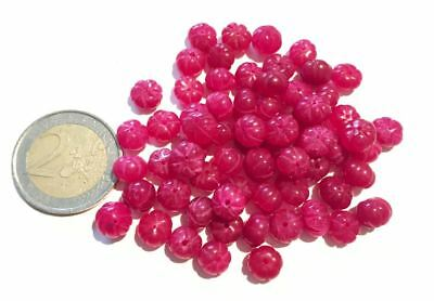 Lot 66 Natural Ruby Hand Carved Melon Beads - Handmade