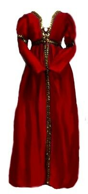 Reminisce Italian Renaissance Borgia Costume Over Dress L/XL Red Silk Taffeta