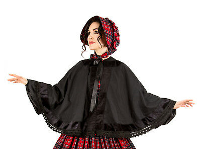 Civil War Reenactment  Victorian Dickens Black Cape and Red Tartan Bonnet Set
