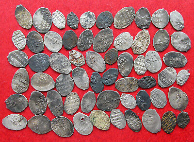 Lot of 60 Russian Medieval Silver Wire Coins