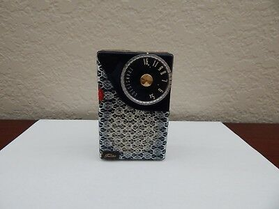 Vintage Toshiba 5TR-193 Black Lace Transistor Radio   with Leather Case  1959