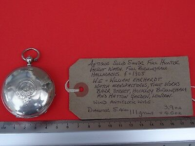 Antique Solid Silver Full Hunter Pocket Watch 1905 William Ehrhardt.Working.