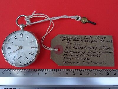Antique Solid Silver Waltham Mass Pocket Watch 1892.Working.