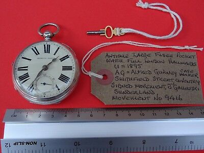 Antique Solid Silver Large Fusee Pocket Watch 1895. Working.