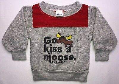 Vintage Infant Boys Child Size 2 80s 1981 Alaska Go Kiss A Moose Cute Sweater