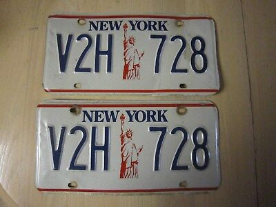 Vintage New York NY Liberty License Plates Matching Set V2H 728 Early Steel