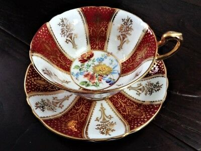Paragon tea cup and saucer RED & GOLD floral pattern teacup wide mouth
