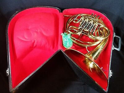Vintage Brass Classical Double French Horn Case, Keys, 2 Mouthpieces Instrument