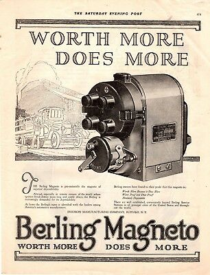 1919 Old Magazine Print Ad Berling Magneto Advertisment A107