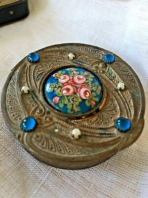 Hand Painted France Bronze Enameled Jeweled Snuff Box Ormolu