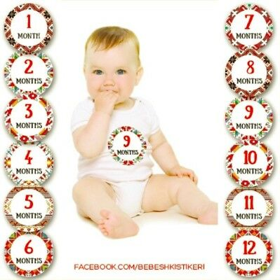 Milestone Photo Prop Belly Stickers with Bulgarian Folk Motives, Baby Age 1-12M