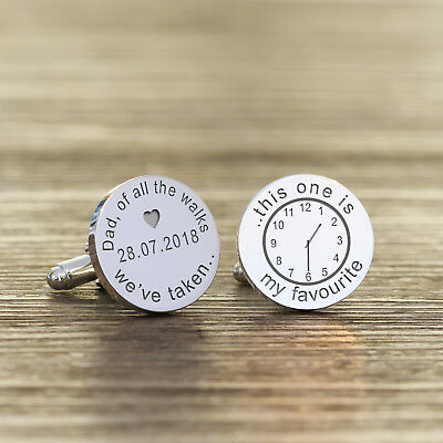 Personalised Silver Wedding Cufflinks Father Of The Bride Or Groom Engraved Gift