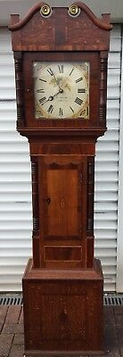 Antique Large 19th Century Oak And Mahogany Inlaid Grandfather Clock 30 Hour