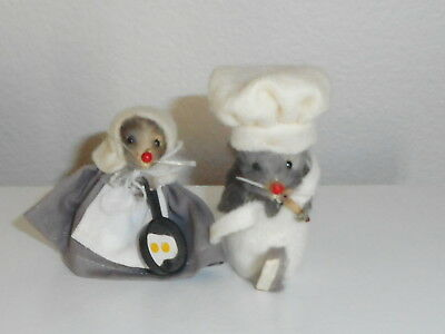 """Vintage Original Fur Toys, Mice  Chefs 2 1/2"""", Made in W. Germany 1970's Minis"""