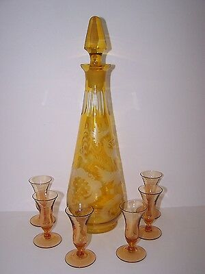 Vintage  Czech  Bohemian Yellow Etched Stag Cut To Clear Decanter W/ 6 Cordials