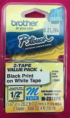 """NEW Sealed! 2 pack Brother M231 P-Touch Label Tape, Ptouch 1/2"""" M-231 M-2312PK"""