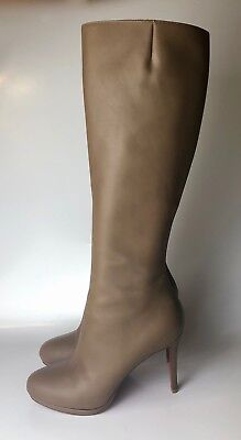 buy popular 24556 60c4e CHRISTIAN LOUBOUTIN BOTALILI Beige Taupe Leather Knee High Boots Euro 40.5