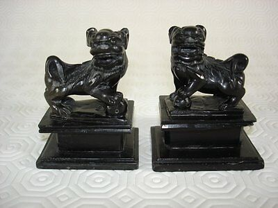 Pair of Black Granite Dogs of Foo