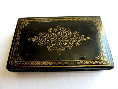 Antique Black Lacquer Snuff Box With Gold Design On Top