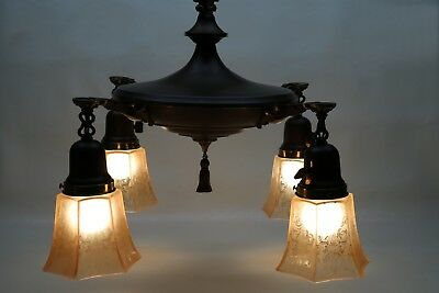 Vintage/antique 4 Light Hanging Pan Lamp Chandelier Solid Brass-Working-Clean