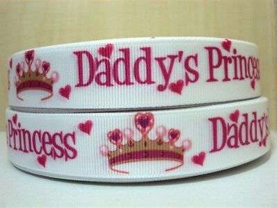 Grosgrain Ribbon Family Daddy's Princess 22mm (1m, 2m or 5m)