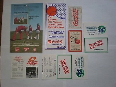 Lot of 7 Coca Cola Sports Paper Items 1954 - 1980, Schedules and Offers