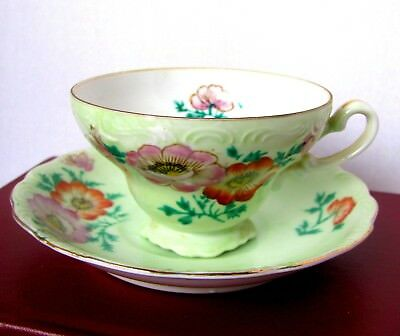 Trimont China Occupied Japan Red Poppy Green Teacup and Saucer Hand Painted