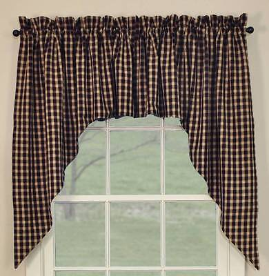 Country Hickory Swag Curtains 72WX36L Black Burgundy Tan Plaid Cotton