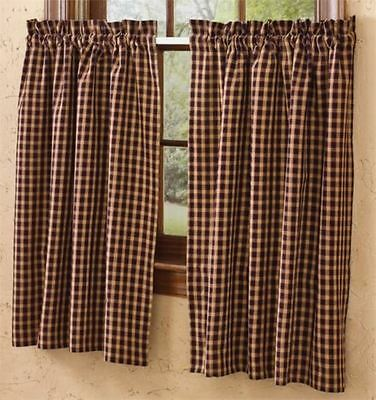 Country Hickory Tier Curtains 72WX36L Black Burgundy Tan Plaid Cotton