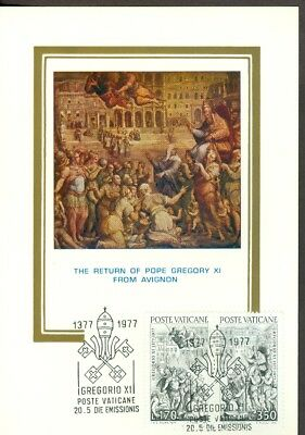Vatican City Sc# 613-14: Return of Gregory XI from Avignon on Maxi Card