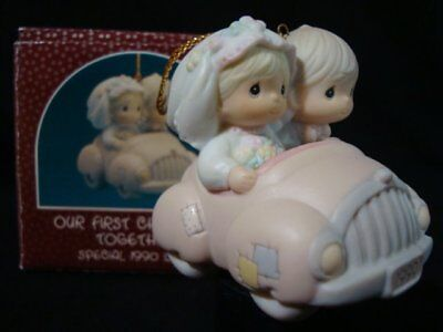 Precious Moments Ornaments-Couple-Bride/Groom In Car 1990 Limited Edition